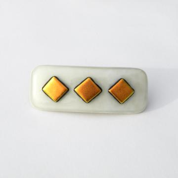 Handmade Art Glass French Barrette, Vanilla with Sparkly Gold