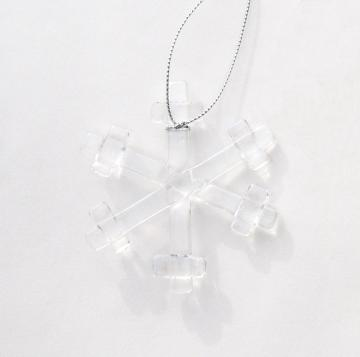 Holiday Ornament, Fused Glass Snowflake, Clear Iridescent