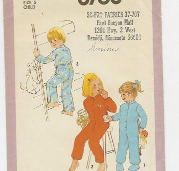 Drop seat PJs pattern in child size 6 by Simplicity 8768 from 1978