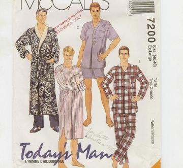 Mens Nightshirt - PJs - Robe pattern size XL by McCalls 7200 from 1994
