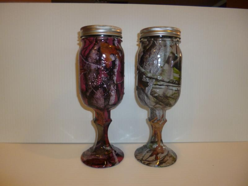 Set of camo redneck wine glass mason jars in pink and tan vista
