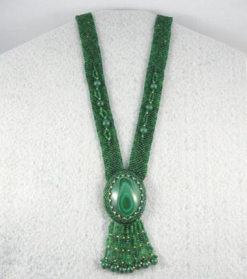Beaded necklace malachite cabochon OOAK