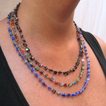 Millefiori glass chip triple strand beaded necklace