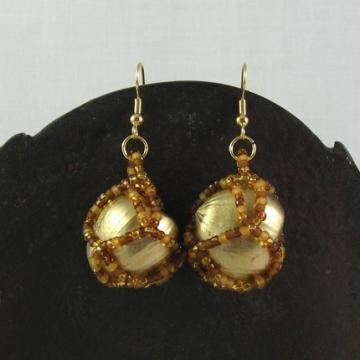 Earrings beaded hazelnuts Autumn Gold