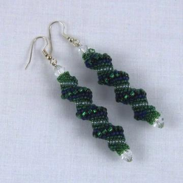 Cellini spiral beadwoven earrings greeneen