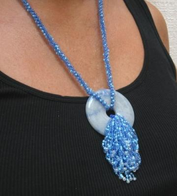 Blue aventurine beaded necklace Fringe Waterfall