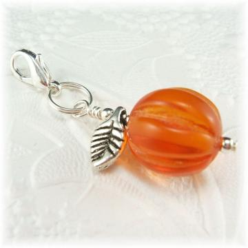 Pumpkin Bead Charm Zipper Pull