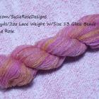 OOAK Hand Spun, Cowl, Pink, Yellow Wool & Silk Yarn with Beads 577 yds Lace Weight Art Yarn