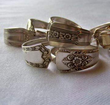 .Napkin Rings - made from antique and vintage silverplate silverware set of 8