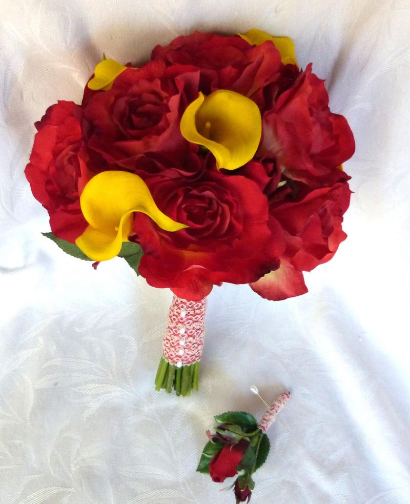 Wedding Flowers Red And Yellow : Yellow and pink roses wedding bouquet images