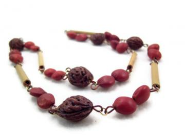 Vintage Peach Pit Necklace with Red Nut Pods and Bamboo Wood Beads - Boho Necklace  by Curiosities Cupboard
