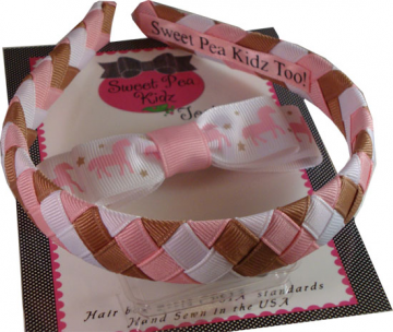 Horse Fans Woven Headband Set w Boutique Bow