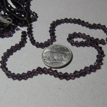 4mm Bicone Dark Purple Machine Cut Glass Beads, Strand