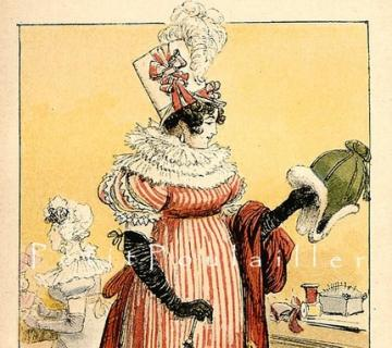 1892 French Fashion Pochoir Print ~ Parisienne de 1810