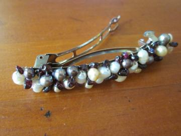 Barrette Freshwater Pearl and Garnet Medium Hair Pin
