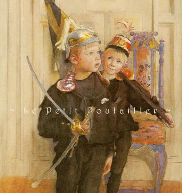 1983 Carl Larsson's Sons, A Portrait Lithograph, 'Ulf and Pontus'