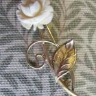 1970 From VanDell, Feminine Wiles Rose Brooch 1.20 12KGF