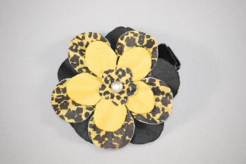 LIMITED EDITION....Yellow Cheetah Flower Hair Clippie