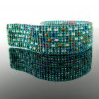 Slim bead loomed teal bracelet with colorful dots