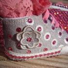 Swarovsky Crystals Pink & Grey High Top Lace Tennis  Shoes - 3-6 months