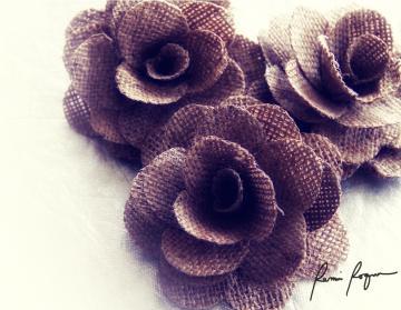 Rustic Burlap Roses by Accents & Petals