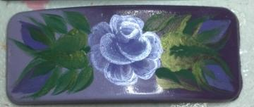 Hand Painted Medium Sized Purple Rose Barette