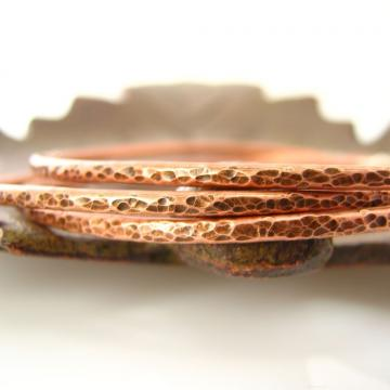 Tree Bark Style Hammered Copper Bangle Trio