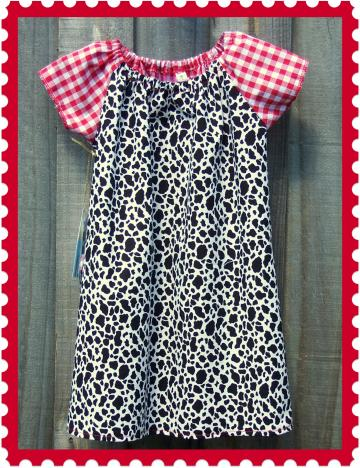 Little Cowgirl Red Gingham Raglan Sleeve Dress / Matching Hair ties - Size 3