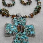 Rodeo Queen -Tiger's Eye and Turquoise Cross Necklace and Earrings