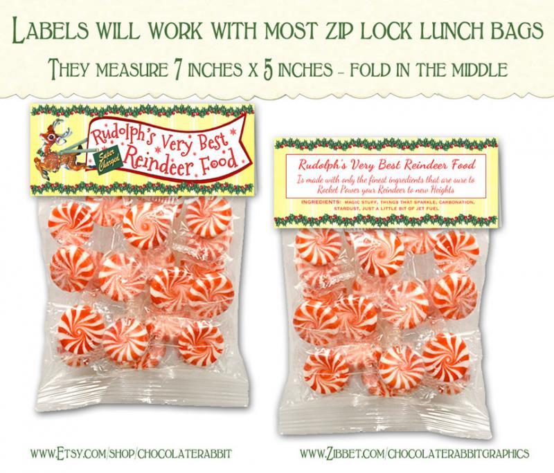 Food Lable Christmas Tag Rudolph Digital Download Printable Clip Art ...