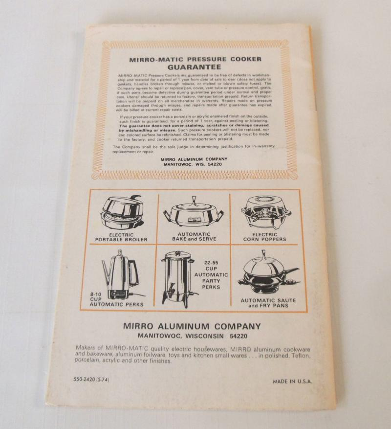 Mirro Pressure Cooker & Canners Instructions Manual