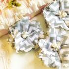 3 Chiffon Folded Flowers with Rhinestone & Pearl Center in GRAY CHEVRON DIIY Headbands Hair Accessories