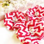 3 Chiffon Folded Flowers with Rhinestone & Pearl Center in RED CHEVRON DIIY Headbands Hair Accessories