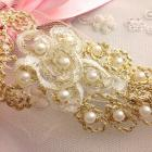 Hand beaded pearl Rosettes with gold metallic accents for headbands, bridal, Holidays