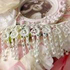 Pearl white Venise Fringe Trim Tassels Dangles for Lamps Handbags Altered Art, scrapbooking