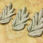 Lt. ECRU Embroidered Leaf  Applique- Set of 3 for Headbands, Scrapbooks, Altered Art, Victorian decor, Shabby Crafts