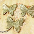 GOLD Metallic Embroidered Butterfly Applique- Set of 3 for Scrapbooks, Altered Art, Victorian decor