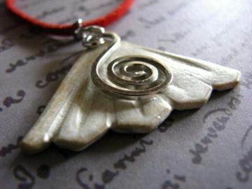 Ceramic Art Pendant - White Fan Shape with Silver Twirl