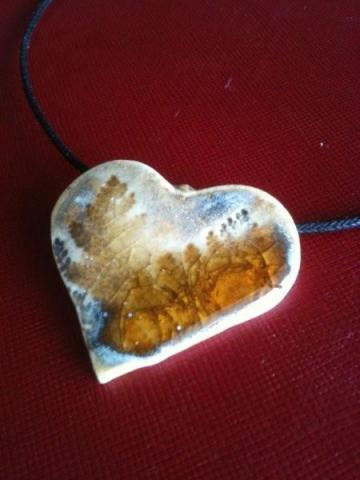 Ceramic Art Pendant - Ferns on Heart