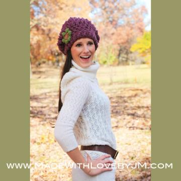 Grape Fix Slouchy Beanie Hat Crochet Pattern