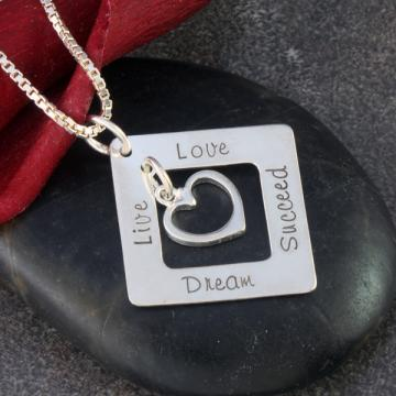 "Hand Stamped 7/8"" Sterling Silver Square Inspirational Necklace"
