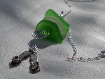 Sea Glass And Flipflop Pendant Necklace Stacked Green And White