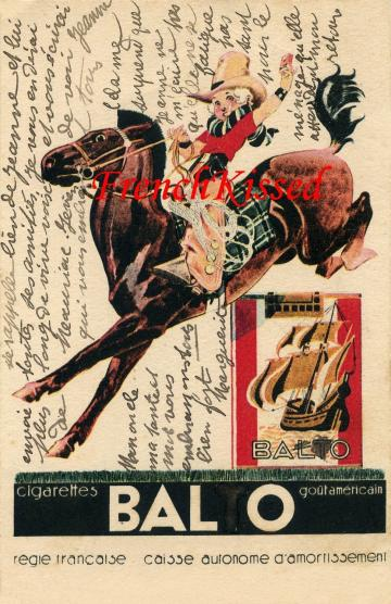 2 Digital Scans ART DECO French advertisement Cowboy on Horse Cigarette