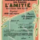 LOVE INSURANCE Antique FRENCH Script postcard Digital Scan Lily of the Valley Art Nouveau