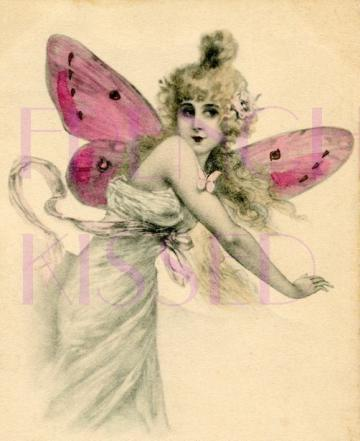 DIGITAL scan Pink Wing BUTTERFLY Fairy Antique French postcard WALL DECOR