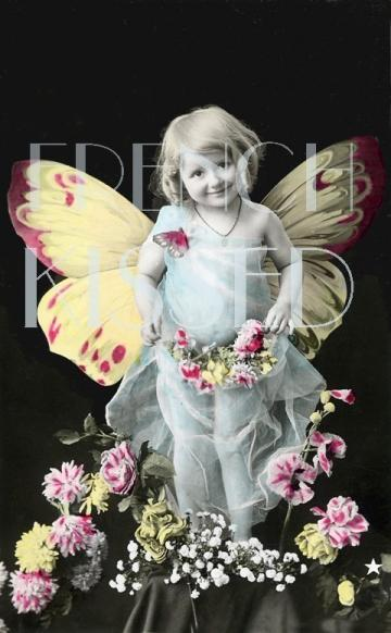 BUTTERFLY Girl  Antique French Postcard FANTASY Digital Scan