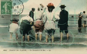 DIGITAL download scan Victorian BEACH scene antique French postcard Party invitation idea