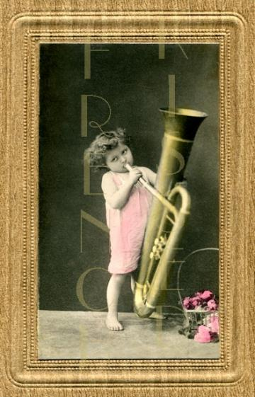 DIGITAL scan Toddler with TUBA blowing a HUGE HORN antique French postcard