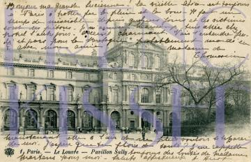 DIGITAL Scan download PARIS Louvre French script antique postcard