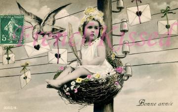 DIGITAL Scan Toddler in Huge Bird's Nest on Telephone Wires Love letters Hearts
